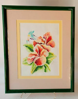 Watercolor original painting - Hummingbird and Pink Hibiscus flowers SIGNED