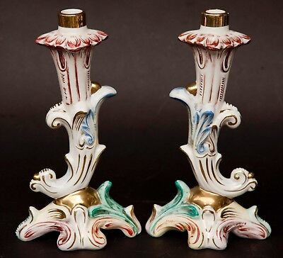Antique Pair of Capodimonte Italian Porcelain Candle Holders