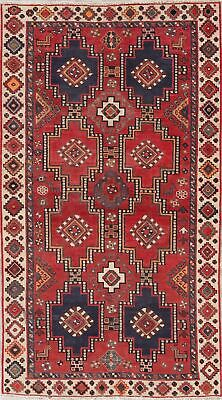 Antique 4'x7' Geometric Lori Persian Tribal Rug Hand-Knotted Oriental Red Wool