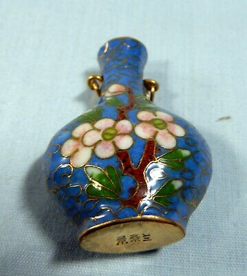 Antique cloisonne perfume bottle pendant circa 1940s retired hand crafted 8