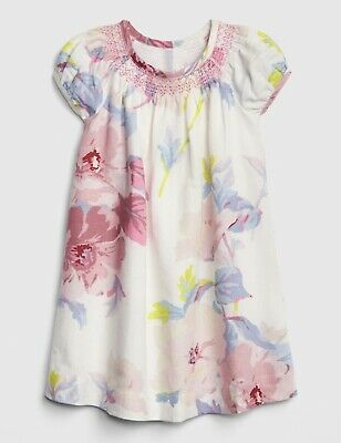 NWT New Baby Gap Girl Floral Puff-Sleeve Dress Ivory Frost 4T