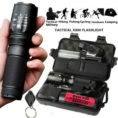 Powerful Flashlight 100000LM T6 LED Tactical Military Torch Zoomable Headlamp