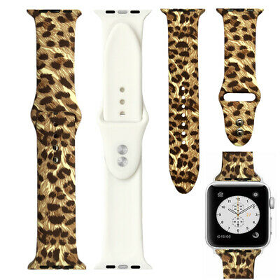 Yellow Leopard Print Silicone Strap Band for Apple Watch Series 4 3 2 1 38/44mm