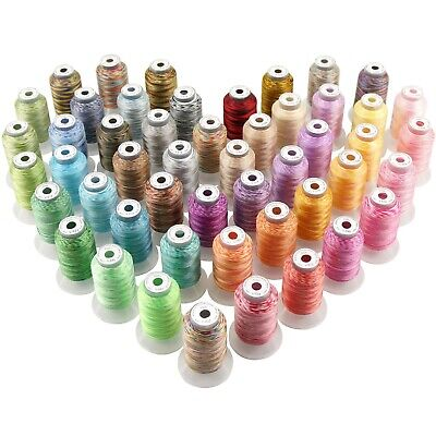 50 Colours Variegated Polyester Embroidery Machine Thread Kit -500M Each Spool