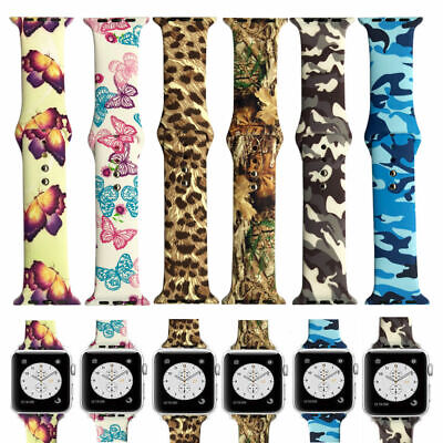 220e2b6bbdf Camouflage Silicone Apple Watch Band Butterfly Strap For iWatch Series 4 3  2 1