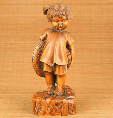 old Big boxwood hand carved lovely girl statue netsuke table home ornament