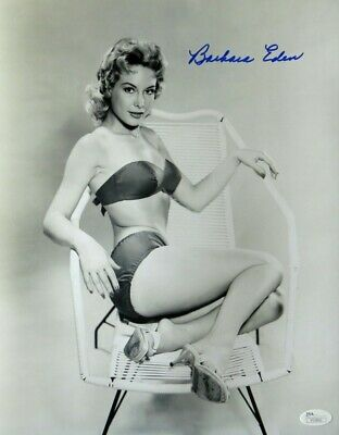 Barbara Eden Signed Autographed 11X14 Photo I Dream of Jeannie B/W Chair JSA