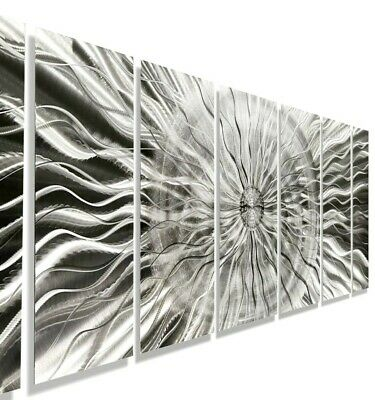 Amazing Metal Wall Art Large Modern Silver Abstract 7 Panels Decor By Jon Allen