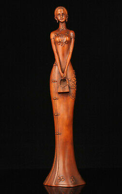 Rare China Hand-carved Boxwood Chinese Beauty Statue Desktop Ornament