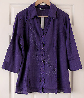 """Gorgeous, embroidered M&S """"Per Una"""" purple cotton blouse/top (18). Marks Spencer"""