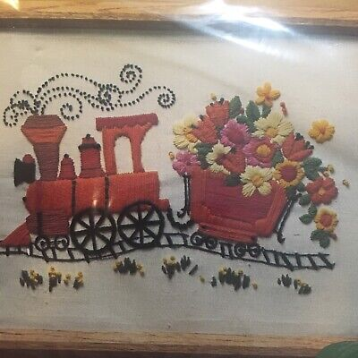 Vintage Creative Circle Flower Train Crewel Embroidery Kit 306 SEALED