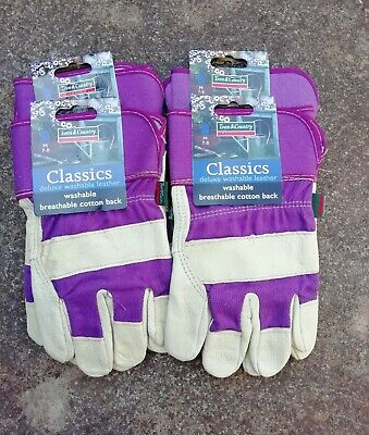 Town & Country Leather washable Gardening Gloves med. size 7-8 x 4 Pairs Purple