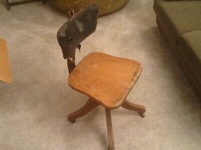 Antique Industrial Desk Chair Wood Cast Iron Swivel Office-Stenographer Chair