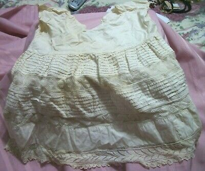 Antique Child's Cotton & Lace Under Slip  (Pettie Coat)Rows Of Tucking And Lace