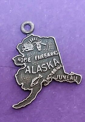 Breloques, bracelets breloques Sterling Silver 25x20mm Last Frontier Alaska State Charm