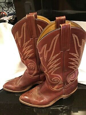 483459176ad DOUBLE H COWBOY Boots Work Men 9.5D Brown Leather Embroidered Eagle ...