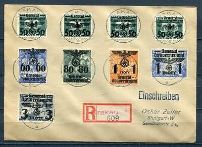 Germany Poland General Government 1940 Registered Cover to Stuttgard HiCV 4082