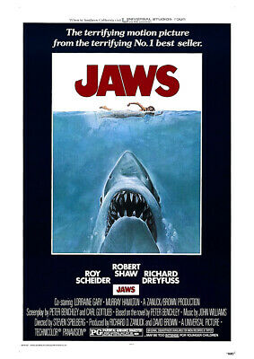 JAWS 1975 Steven Spielberg Vintage Movie Cinema Poster Restored Print Art A4 A3