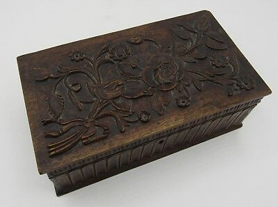 Antique hand carved detailed bas relief wood trinket box/chest flowers/roses