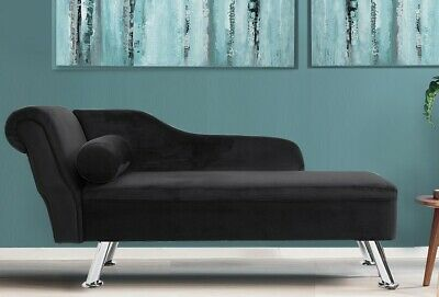 Velvet Chaise Lounge Black Modern Corner Sofa Daybed with Cushion Loveseat Chair