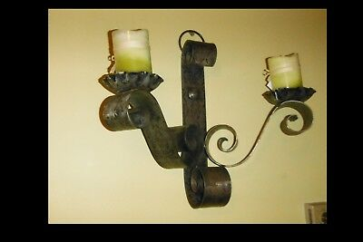 Vintage Medieval Gothic Cast Iron 2 Candle Holder Wall Sconce