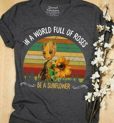 Baby Groot In A World Full Of Roses Be A Sunflower Vintage Men T-Shirt S-6XL