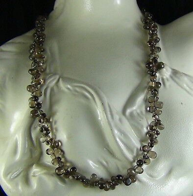 118Cts NATURAL SMOKY QUARTZ DRILLED DROP SHAPE BEADS NECKLACE