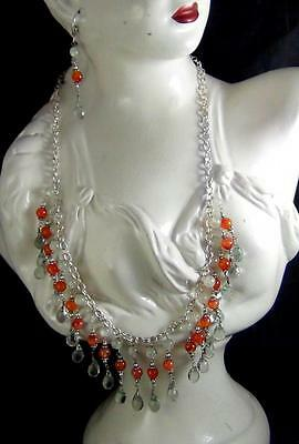160Cts NATURAL CARNELIAN & GREEN AMETHYST BRIOLETTE BEADS NECKLACE WITH EARRINGS