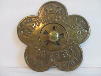 "Original Antique ""rippingille's"" Patent Brass Plate For A.b.c. Stove"