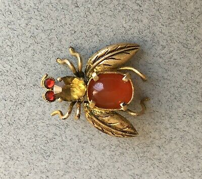 ANTIQUE 1930s ART DECO BUG BROOCH CARNELIAN STONE vintage insect pin