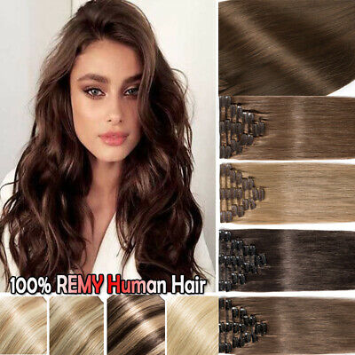 """CLEARANCE Clip in Hair Extensions 100% Real Human Hair Full Head 16""""18""""20""""22"""" C5"""