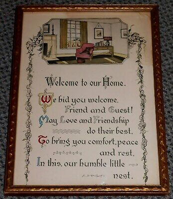"Vintage Framed ""Welcome To Our Home"" Calligraphy Wall Art Signed Dated L@@K!"