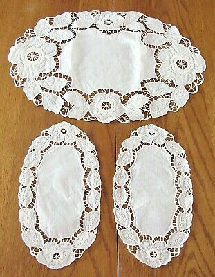 3pc Lot White on White Embroidered Cutwork Table Doilies,Excl Condition