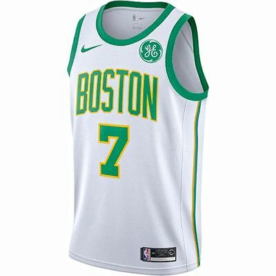 fe7b33906 Boston Celtics - Jaylen Brown #7 Nike White Logo GE Patch Swingman City  Jersey