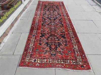 Antique Traditional Hand Made Persian Oriental Wool Red Long Runner 301x113cm