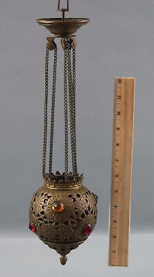 Small Antique Brass & Faceted Glass Jewels, Miniature Hanging Candle Lamp
