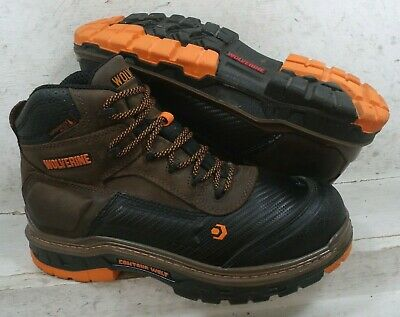 5cd7fc9403f WOLVERINE MENS OVERPASS CarbonMAX Brown Leather Safety WTP Boots W10717 sz  10 M
