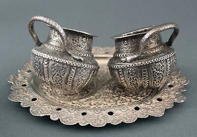 Antique Middle Eastern Handmade Chased Silver Snake Handle Open Salts & Tray