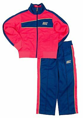 Brand New Girls Nike Pink Blue Warmup Cheer Workout Jacket Set Tracksuit Size 6X