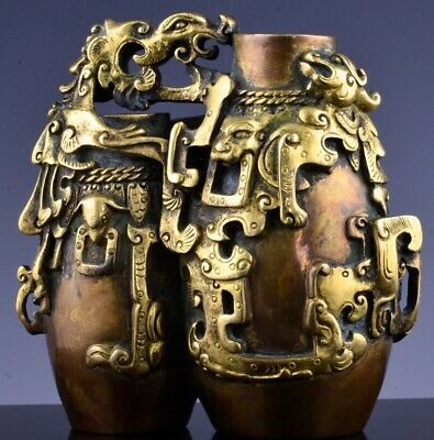 Important Chinese Imperial Qianlong Mark Period Gilt Bronze Archaic Double Vase