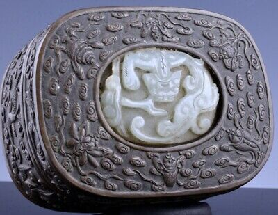 SUPERB 17THC CHINESE MING DYNASTY BRONZE SCHOLARS SEAL BOX w JADE DRAGON PLAQUE