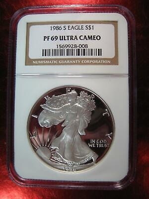 1986 (S) Silver American PROOF EAGLE NGC PF 69 UCAM KEY DATE  - #008 Gold Label