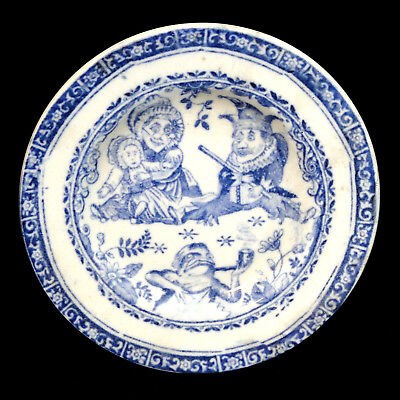 Staffordshire Childs Flow Blue PUNCH & JUDY Transferware Plate 1890 Frog Wizard
