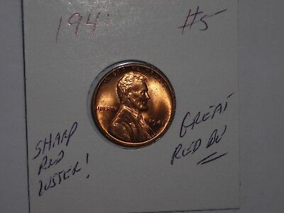 wheat penny 1941 SHARP RED BU 1941-P LOT #5 LINCOLN CENT NICE UNC RED LUSTER