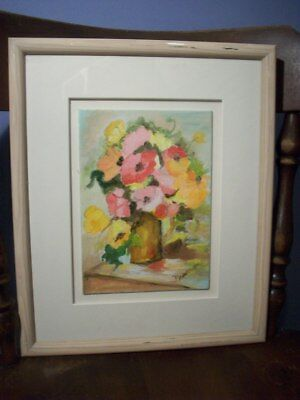 Vintage oil on canvas board  Floral vase with flowers Signed Newman  10 X 12
