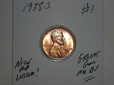 wheat penny 1938S GEM RED BU 1938-S LINCOLN CENT LOT #1 UNC SHARP RED LUSTER