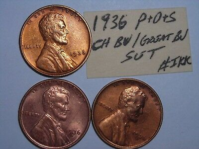 wheat penny 1936-P,1936-D,1936-S RED CH BU SET 1936D,1936S UNC LINCOLN CENT LOT6