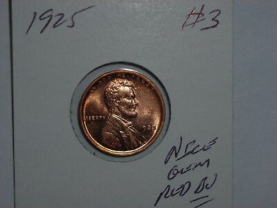 wheat penny 1925 GEM RED BU 1925-P LOT #3 LINCOLN CENT SHARP RED UNC LUSTER