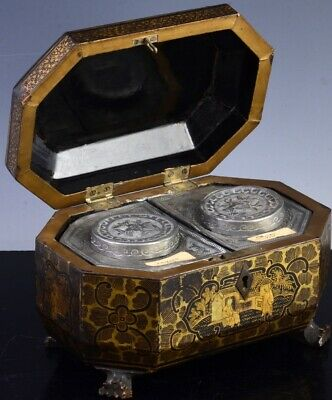 FINE C1860 CHINESE BLACK GOLD LACQUERED TEA CADDY BOX w ORIGINAL PEWTER JARS