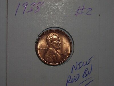 wheat penny 1938 SHARP RED BU 1938-P LINCOLN CENT LOT #2 UNC RED LUSTER